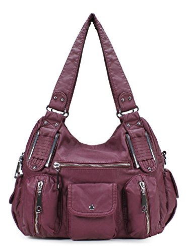 Scarleton Double Zipper Washed Shoulder Bag H133616 - Plum price tips cheap