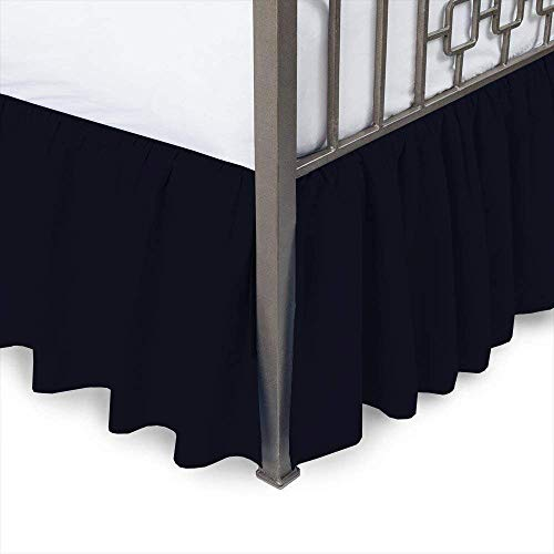 (Ruffled Bed Skirt with Split Corners -Queen, Navy Blue Solid, 14 Inch Drop 100% Cotton Luxurious Sheets and Décor Your Room with Comfy by - Bhoomi Impex)
