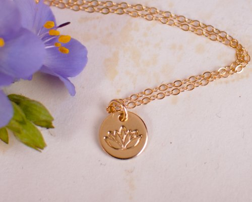 Lotus necklace tiny gold filled yoga pendant on 14k gold for Gemsprouts tiny plant jewelry