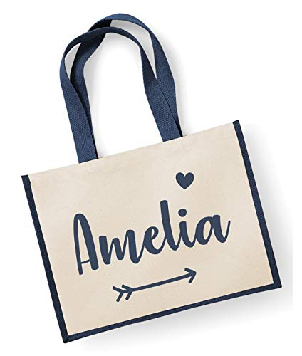 Jute Navy Personalised 42x33cm Name Bag 7Tq7wU0