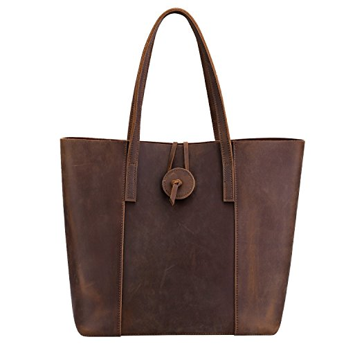 Roohkasu Women's Vintage Style Leather Work Tote Shoulder Bag (UPGRADED 2.0) by Roohkasu (Image #5)