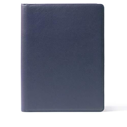Leatherology Folder with Pockets & Pen Holder - Full Grain Leather - Navy (blue)