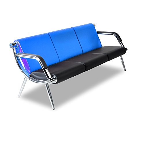 (Bestmart INC 3-Seat Office Reception Sofa Waiting Room Bench Visitor Guest Sofa Airport Clinic Seat (Blue))