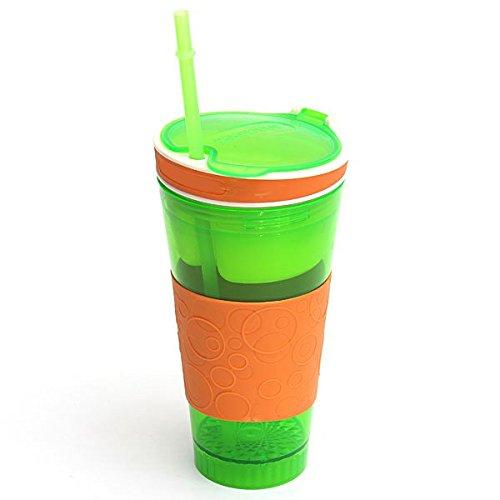 ELEGIANT 500ml 2in1 Travel Snack Drink Cup Bott...