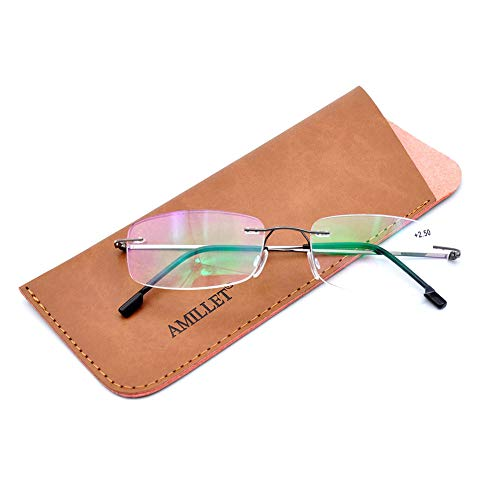 AMILLET Business Rectangular Rimless Reading Glasses,Classic Titanium Alloy Frame Readers for Men and Women Gunmetal +1.5 (Glasses Frameless Titanium)
