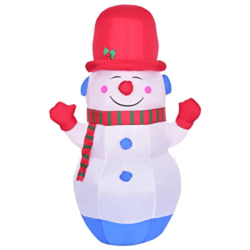 TANGKULA 6' Inflatable Snowman LED Airblown Yard Holiday Decoration Colorful Snowman by TANGKULA