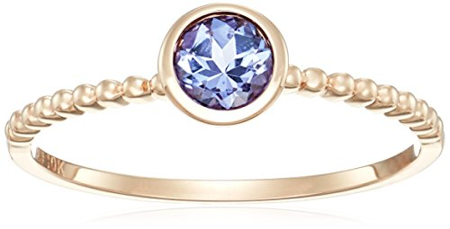 10k Rose Gold Tanzanite Solitaire Beaded Shank Stackable Ring, Size 7