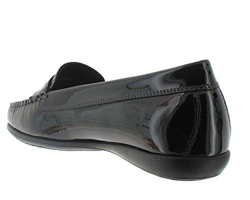 Femme Mocassin Mephisto Axena Verni Chaussures Noir qAwH1R