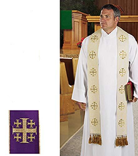 AT001 Catholic & Religious Jerusalem Cross Overlay Stole Purple (Stole Cross Overlay)