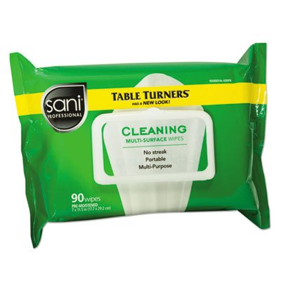 Sani Professional NIC A580FW Table Turner Wet Wipe, 11-1/2 Width, 7'' Length, Paper, White, Pack of 1080, 11'' Height, 8.25'' Width, Paper, (Pack of 1080)