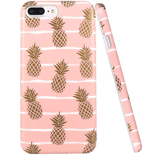 iPhone 7 Plus Case, iPhone 8 Plus Case, JAHOLAN Shiny Gold Pineapple Baby Pink Design Clear Bumper TPU Soft Rubber Silicone Cover Phone Case for Apple iPhone 7 Plus/iPhone 8 Plus