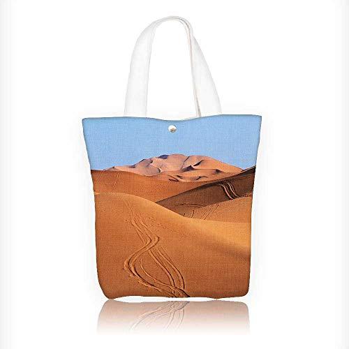 Women's Canvas Tote Bag, Morocco Sand dunes of Sahara desert Ladies Top-handle Handbags, work school Shoulder Bag W16.5xH14xD7 INCH