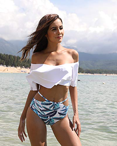 4b040f92a Tempt Me Women Two Piece Off Shoulder Ruffled Flounce Crop Bikini Top with  Print Cut Out Bottoms