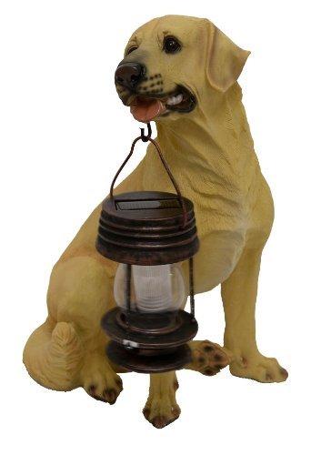 Tricod B5185A Yellow Labrador Dog With Lantern Solar Light by Tricod by Tricod
