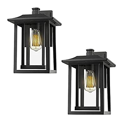 Beionxii Outdoor Wall Light | Post Light | Pendant Light, Black Finish with Clear Glass Panel - A197 Series