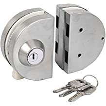 Ranbo commercial Durable Metal Chrome Stainless Steel 10 mm -12 mm Glass Door Anti-theft Security Lock, Double Swing Hinged Frameless Push Sliding Gate Lock With 3 Keys (Double Swing Glass Door)