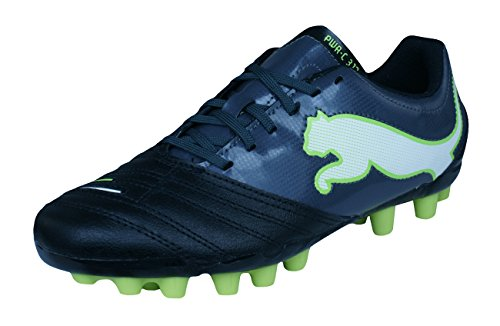 PUMA Powercat 3.12 R MG Boys Leather Soccer Boots/Cleats-Black-4.5 (Best Leather Football Boots)