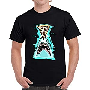 The Fox TAN Pizza Shark Graphic impresionante camiseta negra