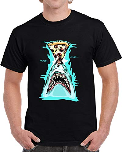 The Fox TAN Pizza Shark Graphic impresionante camiseta negra
