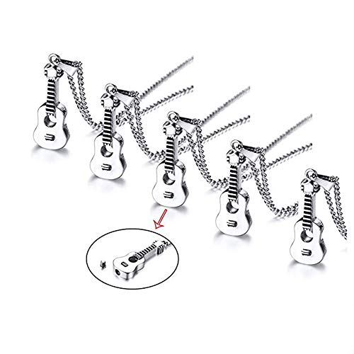 (VNOX Set for 5-Keepsake Memorial Jewelry Stainless Steel Guitar Shape Cremation Ash Urn Pendant Necklace)