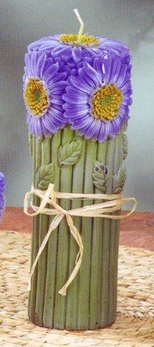 Lg Blue Daisy Bouquet Pillar Candle