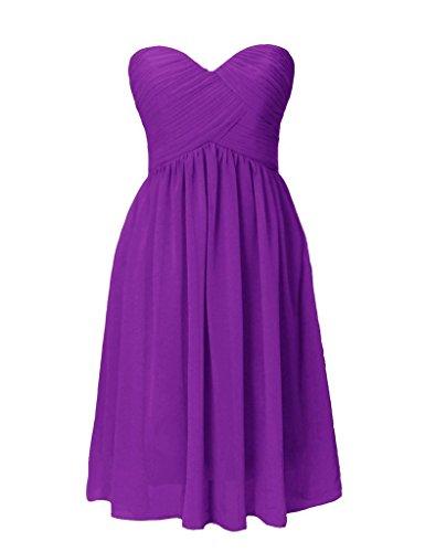 Mousseline Besswedding Robes Courtes De Réception Chérie Robe De Soirée Pour Les Filles Violet