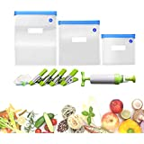Sous Vide Kit for Anova Cookers Food Vacuum Seal Storage Bags Sealer Reusable Container Cooking Tools 3 Size 15Pcs Vacuum Sealed Bags with 1 Manual Vacuum Pump Kit 2 Sealing Clips and 4 Sous-Vide Clips,1 Vacuum bottle stopper(BPA Free)