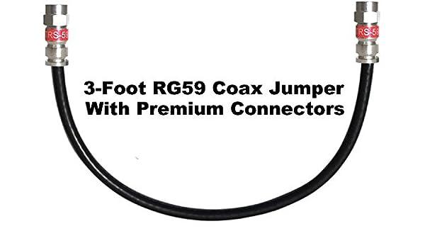 Canal Master 3 pies Cable Coaxial Digital RG59 con conectores de compresión de Premium (negro): Amazon.es: Electrónica