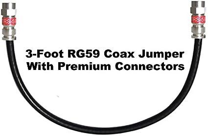 Canal Master 3 pies Cable Coaxial Digital RG59 con conectores de compresión de Premium (negro