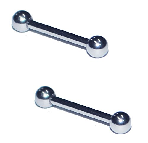 2x 16 Gauge 16g 316L Stainless Steel Straight Barbell Cartilage Nipple Ring Earring 1/4 5/16 3/8 7/16 1/2 Pair Set of 2 (3/4