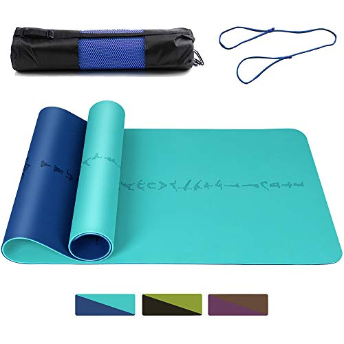 (DAWAY Eco Friendly TPE Yoga Mat - Y9 Wide Thick Workout Exercise Mat, Non Slip Grip Pilates Mat, Double-sided Body Alignment Lines, Anti-Tear, with Bag & Strap, 72