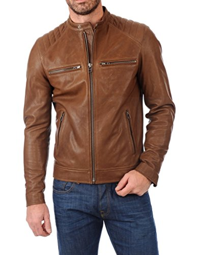 Leather Scan Men's Lambskin Leather Bomber Biker Jacket