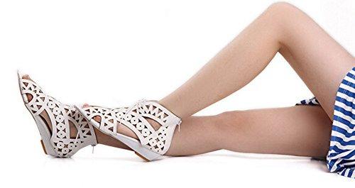 große Größe 34-41 Mode Zeh Wedges Sommer-Schuhe Vorne offener Schuh Gladiator Plattform Frau Sandale Beige