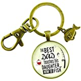 The Best Dad Teaches His Daughter How to Fish Key Chain Father From Daughter Vintage Nautical Bronze Style Keychain Fish Charm