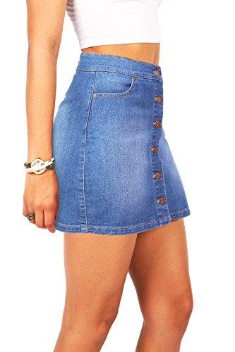 Wax Women s Juniors Cute Button Down Denim Mini Skirt (M d5411ef1d795
