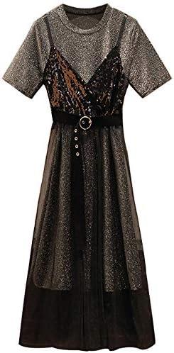 Kutera Zweiteiliges Kleid 4XL Bildfarbe des Bauch-Abdeckungsklagensommers der großen Frauen des neuen weiblichen Fremdgasalterungsbügels