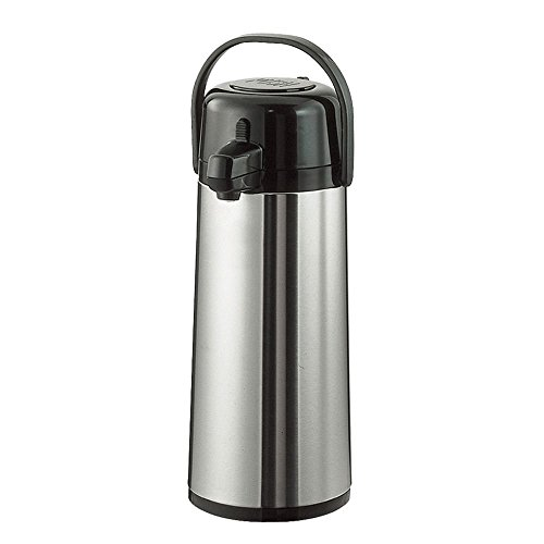 Service Ideas ECA25S Eco-Air Push Button Airpot, Glass Vacuum, 2.5 Liter (84.5 oz.), Brushed Stainless/Black Accents