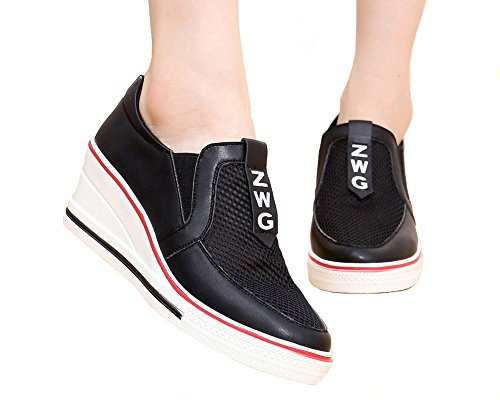 Jiye Pump Skor Kvinna Canvas Högklackade Skor Kil Skor, Mode Sneakers 1-svart