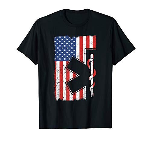 EMT EMS Shirt Paramedic T Shirt USA American Flag Gift Tee