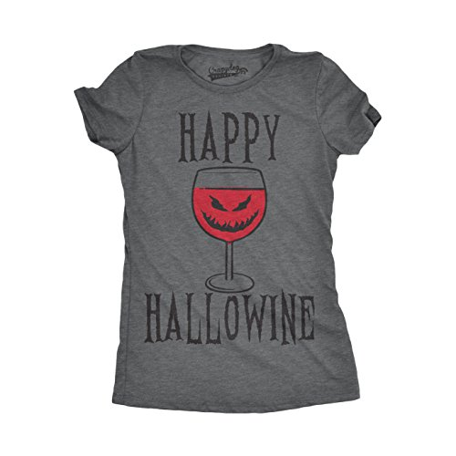 Happy Hallowine Funny Halloween Wine Glass Drinking Tshirt for Woman (Dark Grey) -