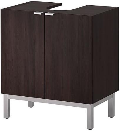 Ikea Lilla Appesi Mobiletto Con 2 Ante E Piede In Nero Marrone 60 X 38 X 51 Cm Amazon It Casa E Cucina