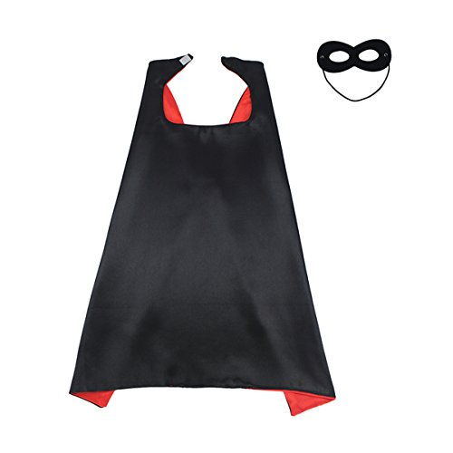 KOSTING 140CM X 90CM Halloween Costume Reversible Kids, Adult, Men, Women DIY Superhero Cape with Mask, Black&Red]()