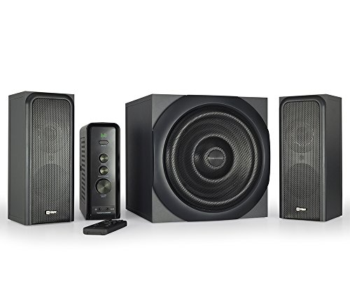 Compatible Systems (Thonet and Vander RATSEL Bluetooth Desktop Speaker System with Enhanced Bass, Woofer, 360 Watts Peak Power, Wood Finish, Compatible with Alexa for the Ultimate Gaming Experience)