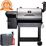 Z GRILLS ZPG-7002E 2019 New Model Wood Pellet Grill & Smoker, 8 in 1 BBQ Grill Auto Temperature Control, 700 sq inch Cooking Area Silver Cover Included