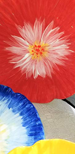 - 6 hand painted salad or desert plates of Hibiscus
