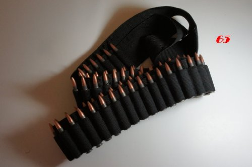 65 Shell Bandolier Ammo Belt Sling Black by WM (Bandolier Belt)