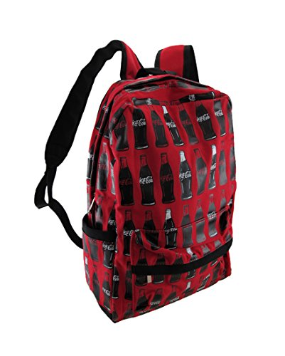 Coca-Cola Red Canvas Bottles Print Backpack
