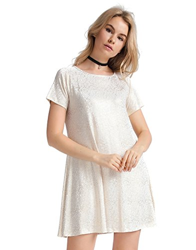 Metallic Shift Dress - OEUVRE Women's Short Sleeve Tunic Dress Metallic Dazzling Outfits Party Pearl-WhiteDress Beige 08