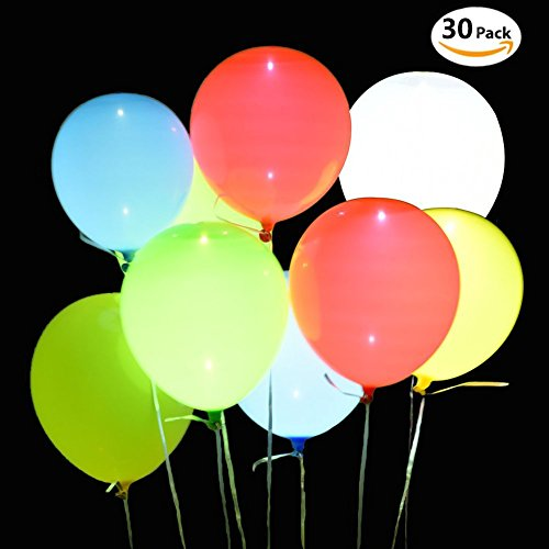 30 Pack LED Balloons - Changing Color Light Up Balloons Party Balloons - Lasts 8-48 Hours, Ideal for Christmas/Birthday/Wedding (Blinking Led Eyes Halloween)