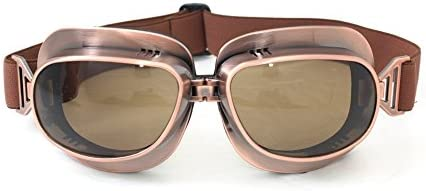 1940s Sunglasses, Glasses & Eyeglasses History CRG Sports Vintage Aviator Pilot Style Motorcycle Cruiser Scooter Goggle T04 T04ST - Parent (Copper Frame Tinted Lens) $15.99 AT vintagedancer.com